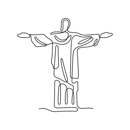 Jesus Christ one line vector illustration.