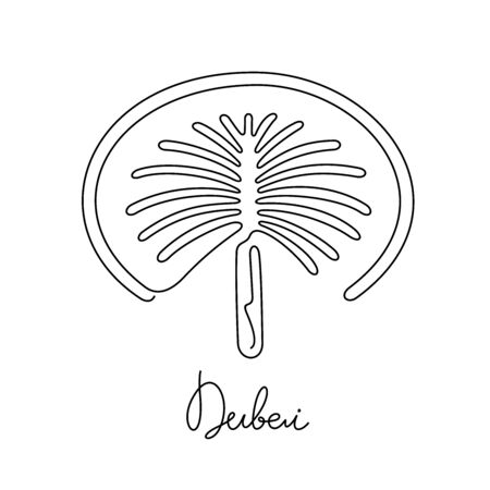 Palm island, Dubai. One line vector illustration.