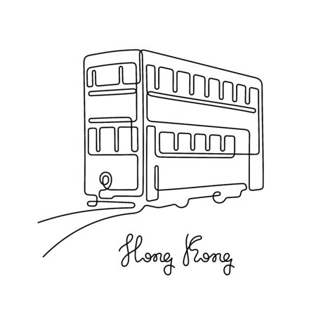 Hong Kong tram. One line vector illustration.