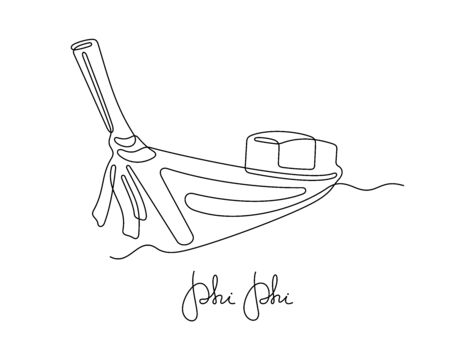 Long tail boat one line vector illustration. Phi Phi, Krabi, Samui, Bangkok and other Thailand destinations travel postcard design.