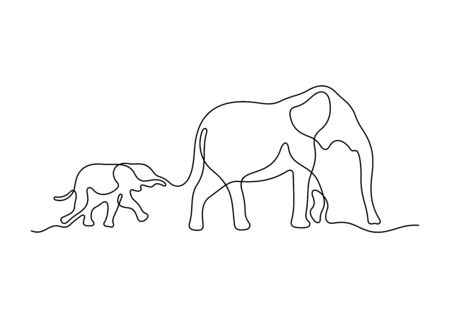 Mom and baby elephant. One line vector illustration.