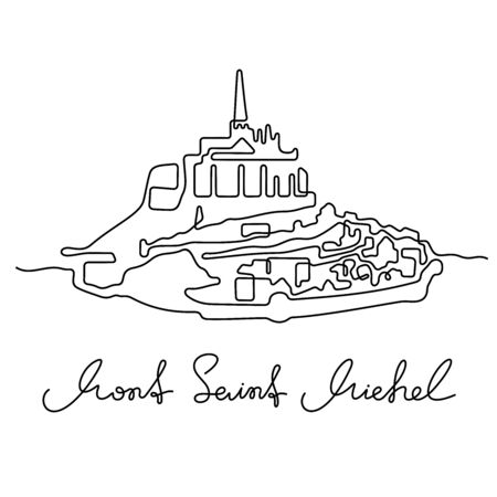 Mont Saint Michel, France. One line vector illustration.