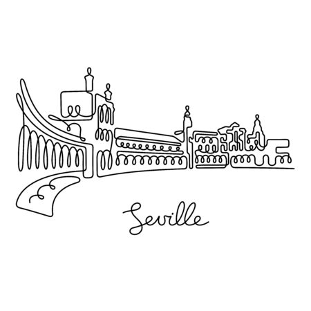 Seville, Spain. One line vector illustration.