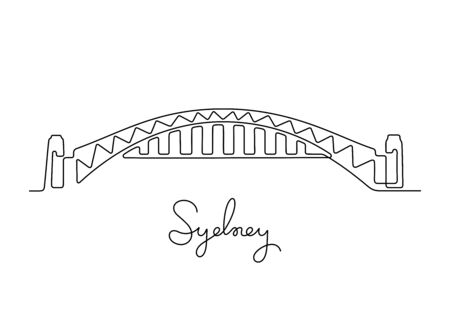 Sydney Harbour bridge, Australia. One line vector illustration.