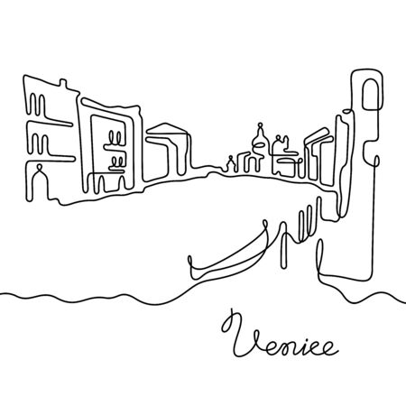 Venice, Italy. One line vector illustration