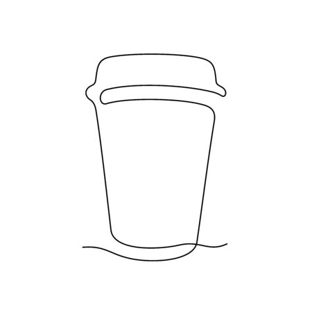 Coffee cup take away one line vector illustration Vettoriali
