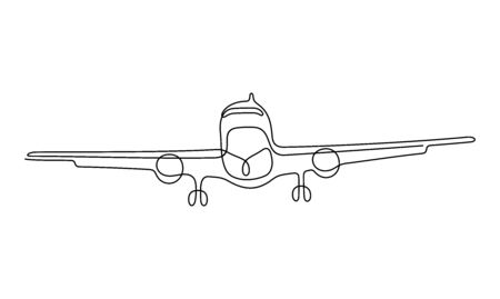 Plane one line vector illustration