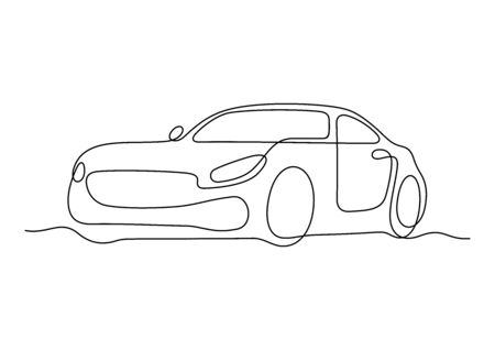 Car one line vector illustration