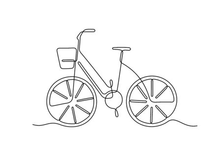Bicycle one line vector illustration Vettoriali