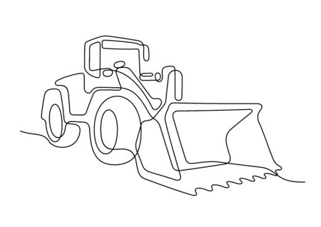 Bulldozer one line vector illustration