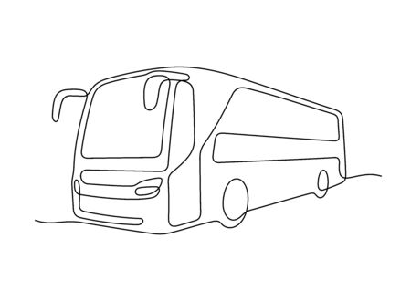 Bus one line vector illustration Vettoriali