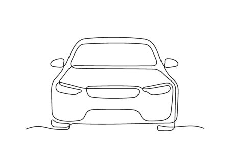 Car front view one line vector illustration