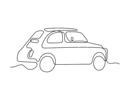 Retro car one line vector illustration Vettoriali