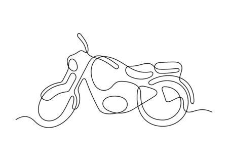 Motorcycle one line vector illustration Vettoriali