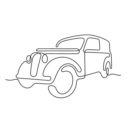 Old car one line vector illustration