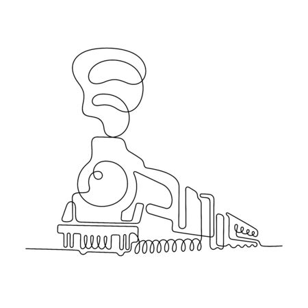 Vintage train one line vector illustration