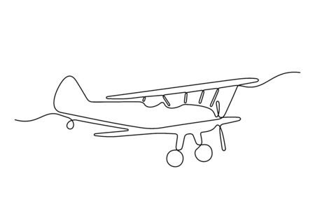 Vintage airplane one line vector illustration