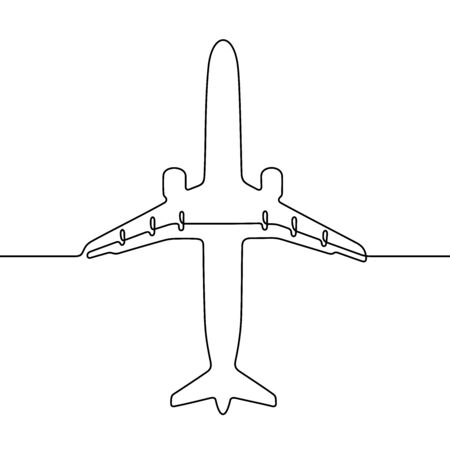 Passenger plane one line vector illustration Vettoriali