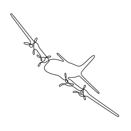 Airplane one line vector illustration Vettoriali