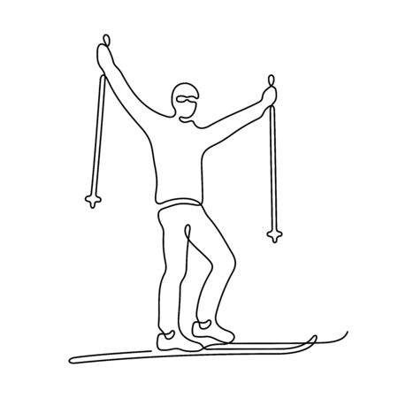Skier one line vector illustration Vettoriali