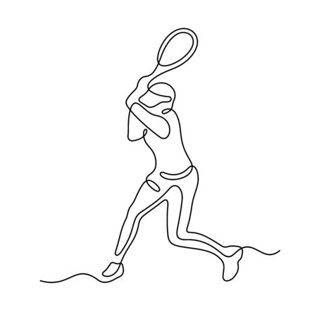 Tennis player one line vector illustration