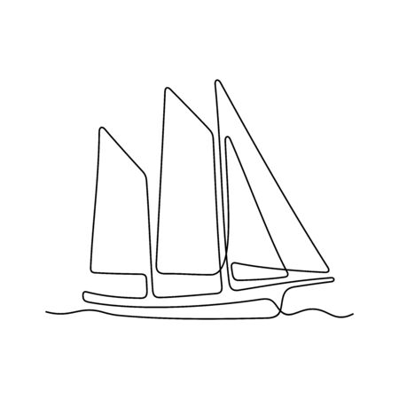 Yacht one line vector illustration