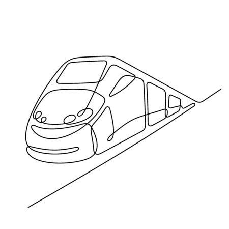 High speed train one line vector illustration