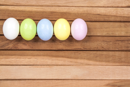 oink: Easter Eggs on a wooden background