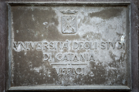catania: The Plaque of the University of Catania, near the Cathedral and the centre of the city Stock Photo