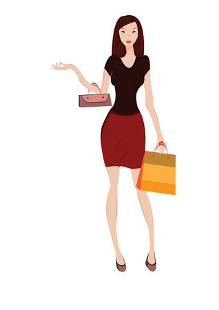 shoppings: Vector illustration of woman shopping Illustration