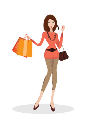 shoppings: Vector illustration of young woman with shopping bags and handbag