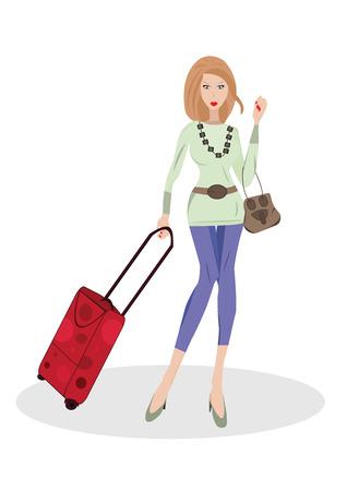 Illustrazione vettoriale di donna con i bagagli