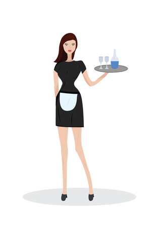 Vector illustration of waitress Illustration