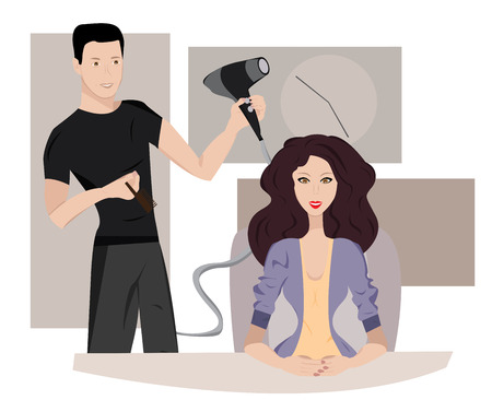 hair dresser: Woman at hairdresser Illustration