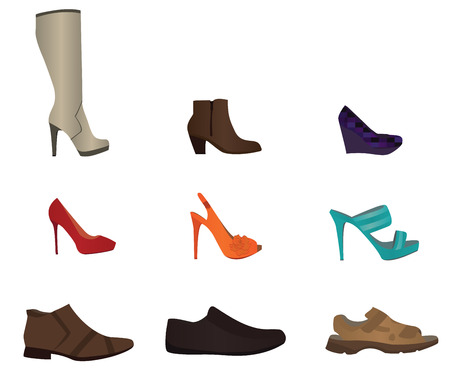 high heeled: Set of male and female shoes Illustration