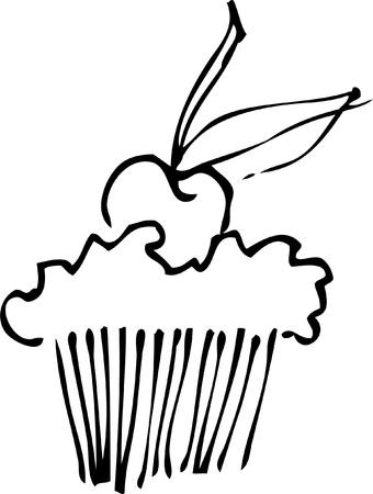 桜のカップケーキ  イラスト・ベクター素材
