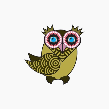 Vector icon Decorative owl
