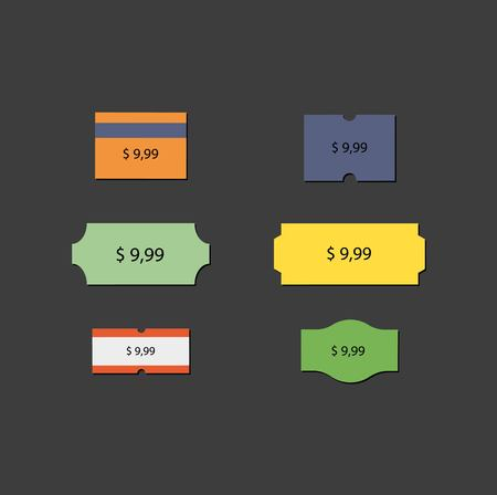 share prices: Vector icons Sticker price tag Discount and action