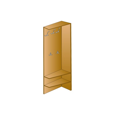 storing: Vector illustration Wardrobe and wooden shelves for clothes