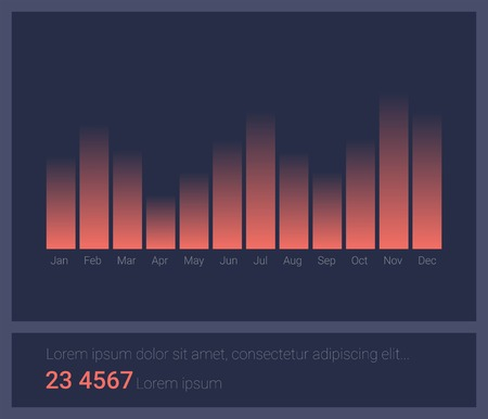 representations: Infographic dashboard template with flat design graphs and charts. Processing and analysis of data Illustration