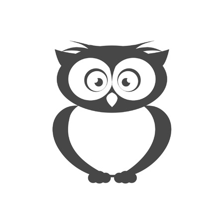 pigeon owl: Vector icon Flat style The outline of the bird Owl Illustration