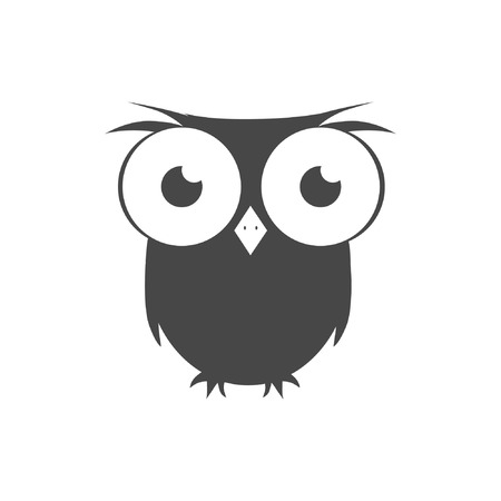 Vector icon Flat style The outline of the bird Owl Illustration