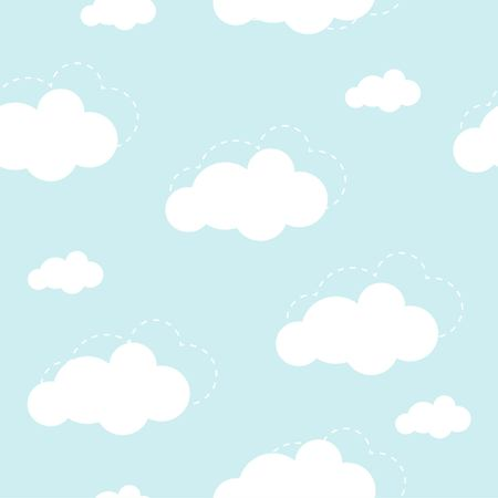 Blue sky with clouds vector seamless background Çizim