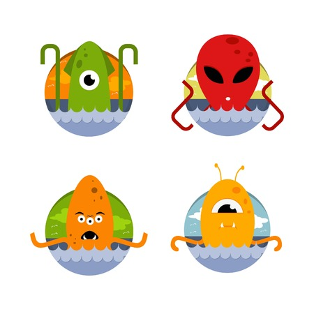 The vector image. A set of icons. Sea monsters and aliens eps jpg Illustration