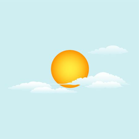 Vector illustration. The sun and clouds. Daytime sky. eps jpg