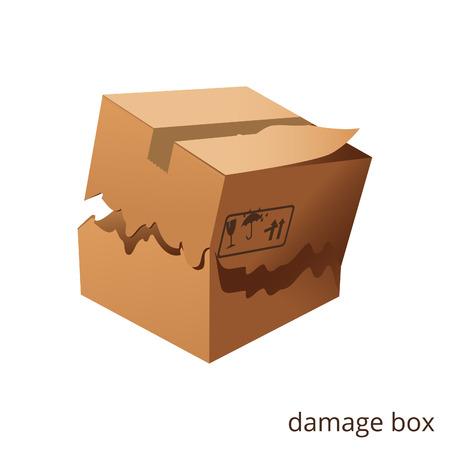 벡터 찢어진 손상 상자화물 일러스트