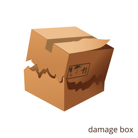 Vector torn and damage box cargo goods