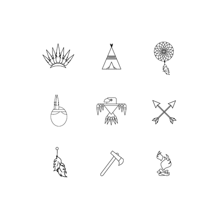 Vector set of icons. The most necessary thing for Indians. Flat style. eps jpg