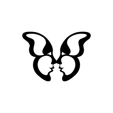 Vector image of a butterfly. Two kissing faces. The reflection of the people in the wings of the insect. Icon and tattoo. Silhouette and animal lovers