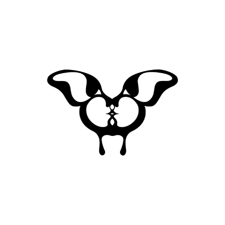 fender: Vector image of a butterfly. Two kissing faces. The reflection of the people in the wings of the insect. Icon and tattoo. Silhouette and animal lovers